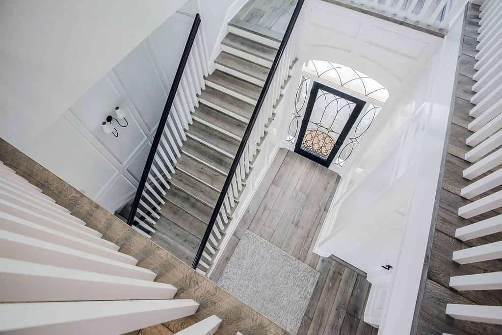 overhead view of wood flooring stairs
