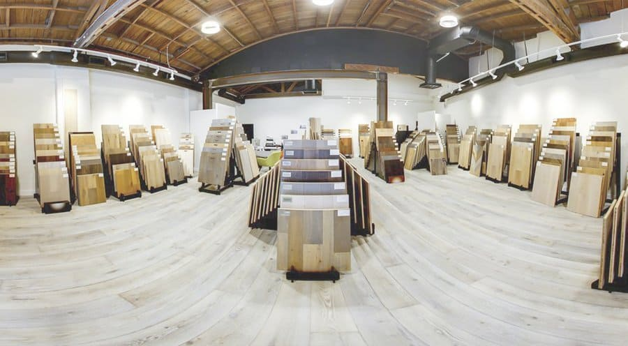 pacific hardwood flooring showroom wide angle